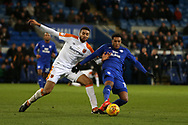 Nathaniel Mendez-Laing of Cardiff City ® holds off Michael Hector of Hull city. EFL Skybet championship match, Cardiff city v Hull city at the Cardiff city stadium in Cardiff, South Wales on Saturday 16th December 2017.<br /> pic by Andrew Orchard, Andrew Orchard sports photography.