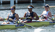 Henley. Great Britain.   Heat of the Remenham Challenge Cup, Leander  Club and Imperial Coll. London. lef to right, Jessica EDDIE, Donna ETIEBET and Katie GREVES at the 175th  Henley Royal Regatta, Henley Reach. England. 11:08:26  Friday  04/07/2014. [Mandatory Credit; Peter SPURRIER/Intersport-images]