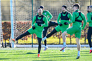 Martin Boyle (#10) of Hibernian FC (left) during the training session for Hibernian FC at the Hibs Training Centre, Ormiston, Scotland on 26 February 2021, ahead of the SPFL Premiership match against Motherwell.