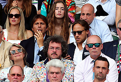 Antonio Conte (centre left) and Sir Clive Woodward (second row right) in the stands of centre court for the Gentlemen's Singles Final on day thirteen of the Wimbledon Championships at The All England Lawn Tennis and Croquet Club, Wimbledon.