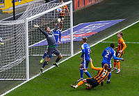 Hull City's Tom Eaves sees his header saved by Gillingham's Jack Bonham<br /> <br /> Photographer Alex Dodd/CameraSport<br /> <br /> The EFL Sky Bet League One - Hull City v Gillingham - Saturday 27th March 2021 - KCOM Stadium - Kingston upon Hull<br /> <br /> World Copyright © 2021 CameraSport. All rights reserved. 43 Linden Ave. Countesthorpe. Leicester. England. LE8 5PG - Tel: +44 (0) 116 277 4147 - admin@camerasport.com - www.camerasport.com
