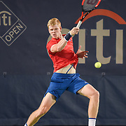 KYLE EDMUND hits a forehand during his second round match at the Citi Open at the Rock Creek Park Tennis Center in Washington, D.C.
