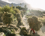Men carrying dry hay to their home.  The traditional life of the Wakhi people, in the Wakhan corridor, amongst the Pamir mountains.