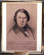 Robert Schumann (1810-1856) German composer. Portrait by Jean-Joseph Bonaventure Laurens (1801-1890).