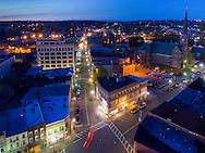 Middletown, New York -An aerial view of Franklin Square and North Street at twilight on April 27, 2016.