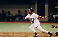 MINNEAPOLIS, MN-OCTOBER 26: MLB Hall of Fame outfielder Kirby Puckett connects for a game winning, walk off home run in the eleven inning off of Charlie Leibrant to win Game 6 of the 1991 World Series against the Atlanta Braves at The Metrodome on October 26, 1991 in Minneapolis, Minnesota. The Twins won 4-3 and tied the series 3-3.  (Photo by Ron Vesely)
