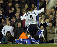 Photo: Olly Greenwood.<br />Tottenham Hotspur v Chelsea. The FA Cup, Quarter Final replay. 19/03/2007. Chelsea's Riccardo Carvalho fouls Spur Dimitar Berbatov to give away a penalty