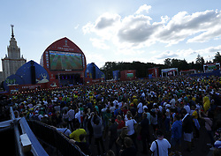 July 2, 2018 - Moscow, Russia - Supporters at Fan Zone - FIFA World Cup Russia 2018.A large view of the Fifa Fan Zone in Moscow, Russia on July 2, 2018. (Credit Image: © Matteo Ciambelli/NurPhoto via ZUMA Press)