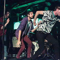Darwin Deez and his band pause for a dance break whilst performing live at Sound Control, Manchester, 2013-02-15