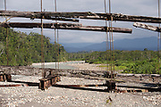 Old suspension bridge leading to The Cloud forest, Manu National Park, Peru, South America
