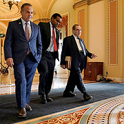 Reps. David Cicilline (D-R.I.), Joe Neguse (D-Colo.) and Jerrold Nadler (D-N.Y.) arrive to the Senate Chamber for the impeachment trial against President Trump on Tuesday, January 28, 2020.