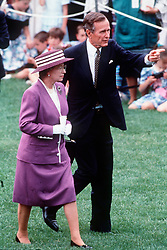 Queen Elizabeth ll with US President George Bush Snr. in Washington DC on May 14, 1991.