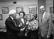 "Irish Laureate Women Of Europe Award. (T10)..1989..17.11.1989..11.17.1989..17th November 1989..Speculation regarding the Irish Laureate for the 1989 Women of Europe Award ended today when the Minister for Education, Ms Mary O'Rourke TD, announced that the Irish Laureate for this year is Grainne Kenny. Founder member of EURAD (Europe Against Drugs), and well known for her work as ""The drugs lady"" in Ireland, Grainne Kenny has been involved in the fight against drugs since 1980. She helped form CAD, Community Action and Drugs and later EURAD. EURAD is has the active co-operation of both the European Commission and Parliament...Grainne Kenny is pictured being congratulated on her achievement."