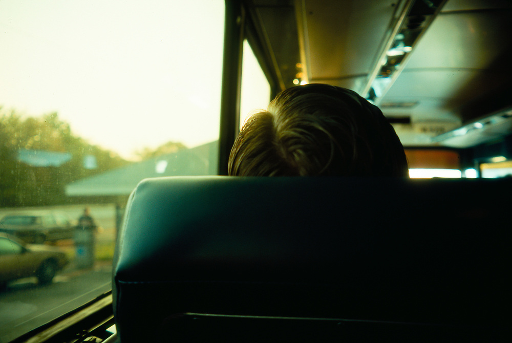 View of the back of a man's head during an early morning commute from the Jersey Shore to Manhattan