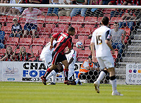 Photo: Leigh Quinnell.<br /> AFC Bournemouth v Swansea City. Coca Cola League 1. 14/04/2007. David McGoldrick slots home his goal for Bournemouth.