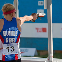 Great Britain's Katy Burke shoots during the Modern Pentathlon Women's World Cup held in Budapest, Hungary on May 07, 2011. ATTILA VOLGYI