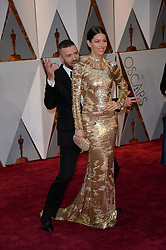 Justin Timberlake and Jessica Biel arriving for the 89th Academy Awards (Oscars) ceremony at the Dolby Theater in Los Angeles, CA, USA, February 26, 2017. Photo by Lionel Hahn/ABACAPRESS.COM  | 583872_045 Los Angeles Etats-Unis United States