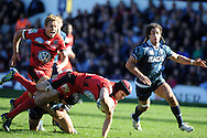 Matt Giteau of Toulon is tackled by Leigh Halfpenny as Jonny Wilkinson supports .Heineken cup, pool 6 match, Cardiff Blues v Toulon at Cardiff Arms Park in Cardiff, South Wales on Sunday 21st October 2012. pic by Andrew Orchard, Andrew Orchard sports photography,