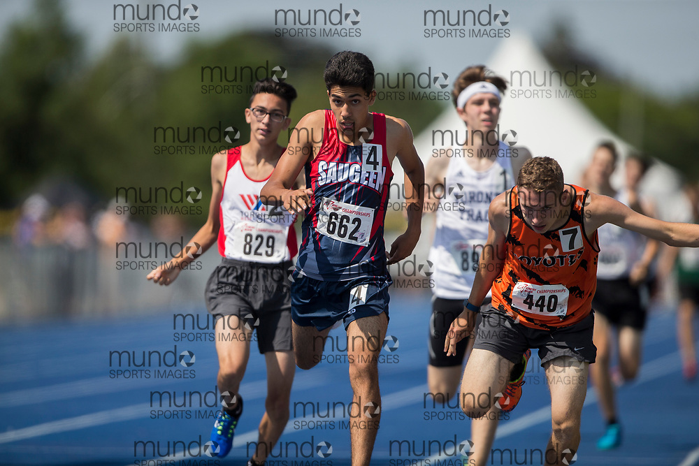 Brampton, Ontario ---2017-07-30--- Daniel  Khan of Saugeen Track & Field Club M competes at the AO BMY Championships in Brampton, Ontario, July 30, 2017.<br /> GEOFF ROBINS/ Mundo Sport Images