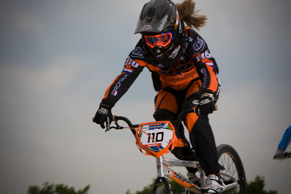 #110 (SMULDERS Laura) NED at the UCI BMX Supercross World Cup in Papendal, Netherlands.