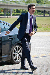 © Licensed to London News Pictures. 06/06/2013. London, UK. Labour leader Ed Miliband is seen arriving in at Newham Council's Dockside building in East London today (06/06/2013) before delivering a speech on the Labour Party's social policy. Photo credit: Matt Cetti-Roberts/LNP