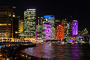 View of illuminated Skyscrapers overlooking Circular Quay during Vivid Sydney 2016