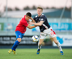 Cowdenbeath's Lewis Milne and Falkirk's Liam Dick.<br /> Half time : Falkirk 0 v 0 Cowdenbeath, second round League Cup tie played at The Falkirk Stadium.