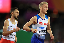 Great Britain's Kyle Langford (right) finishes fourth in the Men's 800m Final during day five of the 2017 IAAF World Championships at the London Stadium.