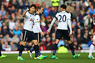 Son Heung-Min of Tottenham Hotspur (l) celebrates with his teammates after scoring his teams 2nd goal. Premier League match, Burnley v Tottenham Hotspur at Turf Moor in Burnley , Lancs on Saturday 1st April 2017.<br /> pic by Chris Stading, Andrew Orchard sports photography.