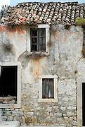 Detail of abandoned house, village of Ston, Croatia