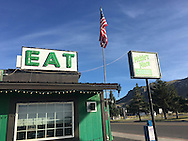 Pickle's Place, with its giant green rocking chair, is open for business in Arco, Idaho, on July 5, 2016. (Cindi Christie/Cyanpixel)