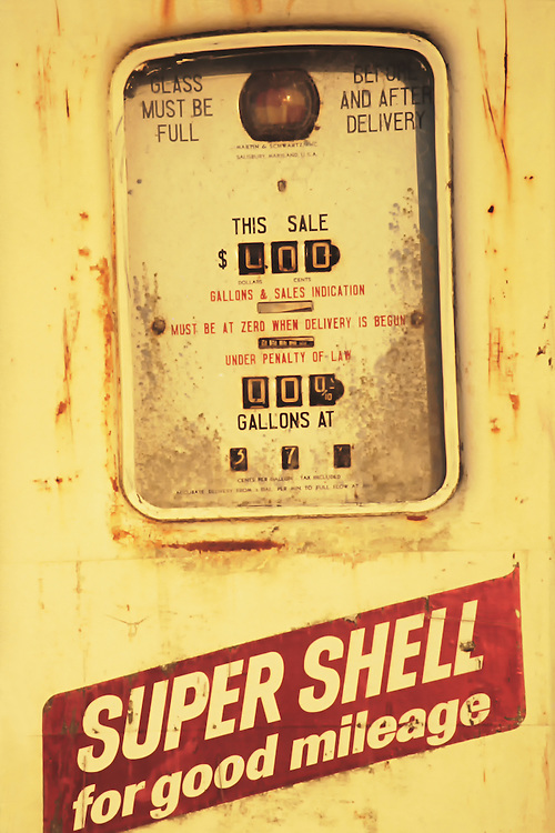 Photograph of a vintage Shell gasoline pump probably from the 40's or 50's. At 0.37 cents per gallon would mean the pump was still in use in the early to mid 60's. Those were the days when you could fill up a tank for $4.00. Crude oil price in 1960 was $3.00 per barrel. 1960 is also the year that OPEC was formed.