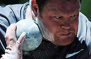 Dylan Armstrong throws during the men's shot put championship at the Canadian Track and Field Championships in Calgary, Alta., June 30, 2012. THE CANADIAN PRESS/Sean Kilpatrick