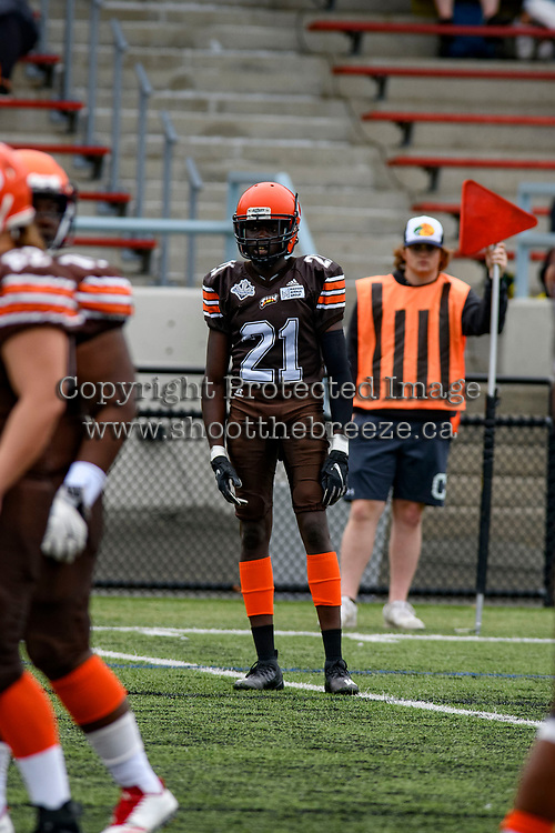 CHILLIWACK, BC - SEPTEMBER 11: Ngor Laul #21 of Okanagan Sun stands on the field against the Westshore Rebels at Exhibition Stadium in Chilliwack, BC, Canada. (Photo by Marissa Baecker/Shoot the Breeze)