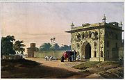 Gate of the Loll Bahug, at Fyzabad, 1801 The print shows the entrance gateway to the Lal Bagh at Faizabad, a pleasure garden established by Shuja' al-Daula. It is built in typical late Mughal style with a plethora of small arches and overhanging balconies with curvilinear roofs. Faizabad was the first capital of the Nawabs of Avadh under Nawabs Burhan al-Mulk and Safdar Jang, before the latter moved it to Lucknow. Shuja' al-Daula moved the capital back to Faizabad from 1765-75 as it was more strategically placed at a time of tension with the East India Company based in Calcutta. From the book ' Oriental scenery: one hundred and fifty views of the architecture, antiquities and landscape scenery of Hindoostan ' by Thomas Daniell, and William Daniell, Published in London by the Authors May 1, 1813