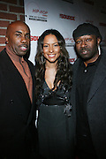"""l to r: Paul Anthony, Valiesha Butterfield, and Bow-Legged Lou at The Russell Simmons and Spike Lee  co-hosted""""I AM C.H.A.N.G.E!"""" Get out the Vote Party presented by The Source Magazine and The HipHop Summit Action Network held at Home on October 30, 2008 in New York City"""