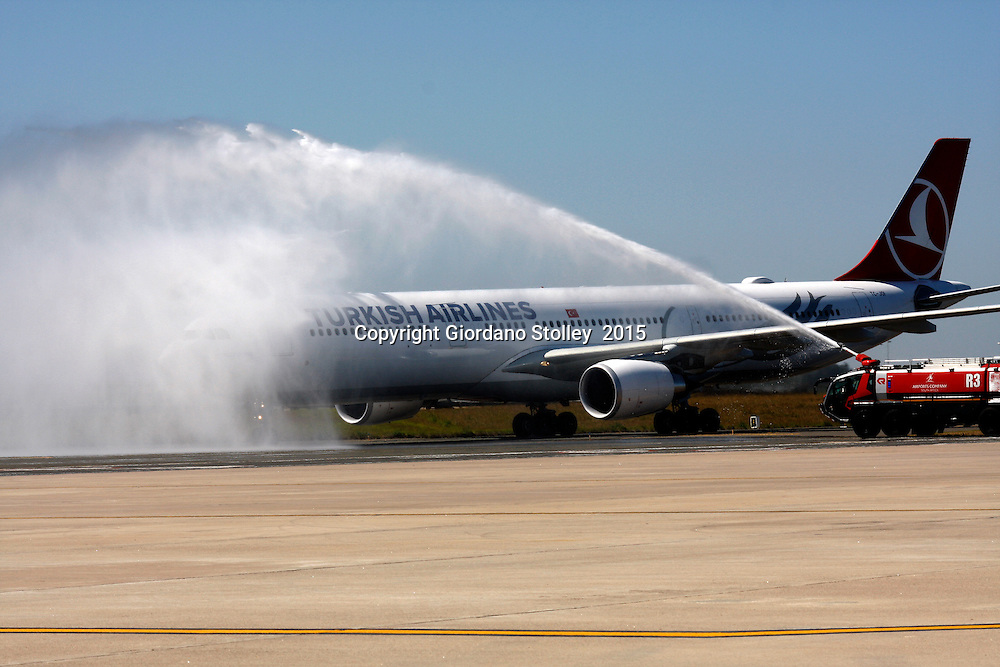 DURBAN - 5 November 2015 - The first Turkish Airlines Airbus A330-300 to arrives at Durban's King Shaka International Airport to the spray of the fire engines. The airline launched its service between Durban and Istanbul, which will see it operate four times a week between Durban and Istanbul via Johannesburg. Picture: Allied Picture Press/APP