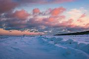 Colorful clouds from golden hour meeting with blueish shadows on snow covered shore from blue hour, near Mazirbe, Slitere National Park (Slīteres Nacionālais parks), Latvia Ⓒ Davis Ulands | davisulands.com