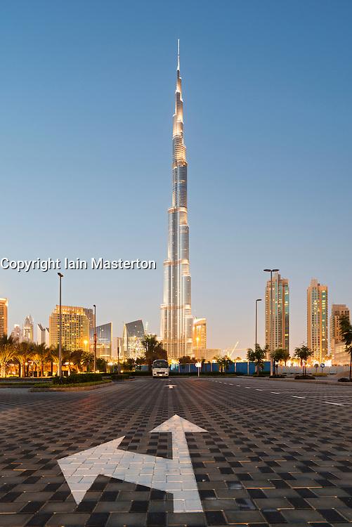 Evening view of Burj Khalifa tower world's tallest skyscraper in Dubai United Arab Emirates UAE
