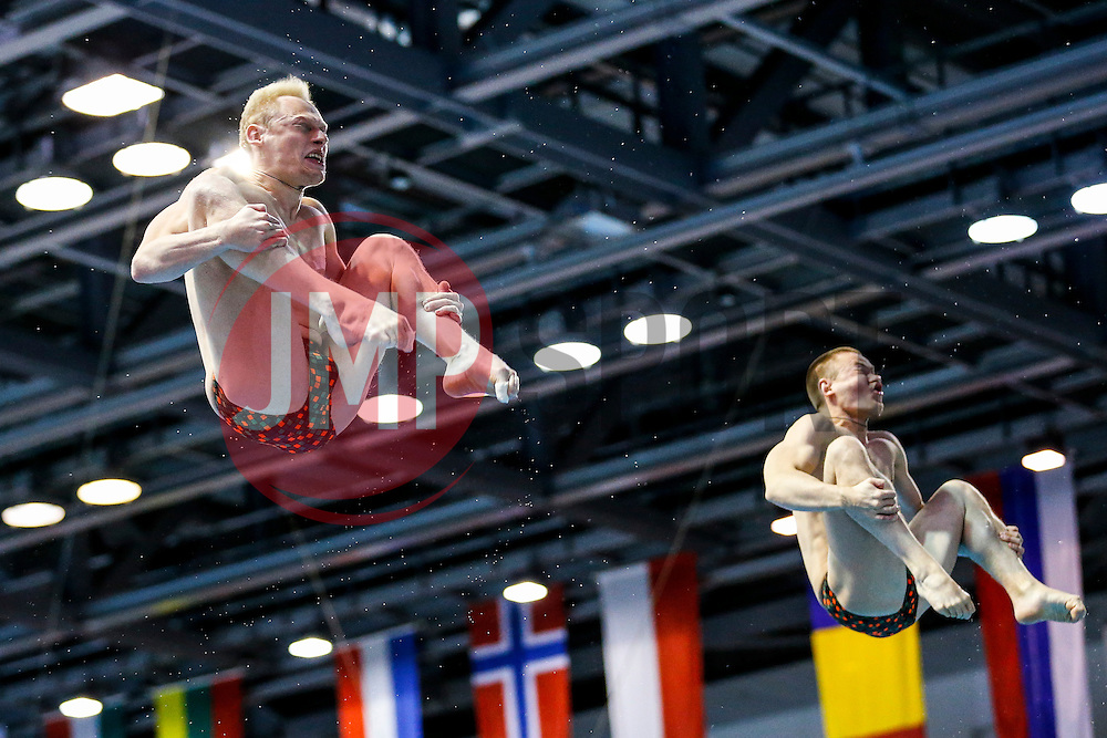 Eventual winners Ilia Zakharov and Evgenii Kuznetsov of Russia in action in the Mens 3m Synchronised Springboard Final - Photo mandatory by-line: Rogan Thomson/JMP - 07966 386802 - 22/08/2014 - SPORT - DIVING - Berlin, Germany - SSE im Europa-Sportpark - 32nd LEN European Swimming Championships 2014 - Day 10.