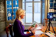 DEN HAAG, 08-10-2020, Paleis Huis ten Bosch<br /> <br /> Koningin Maxima heeft tijdens een videogesprek met de secretaris-generaal van de Verenigde Naties, António Guterres, het jaarverslag aangeboden van haar activiteiten als speciale pleitbezorger van de secretaris-generaal van de Verenigde Naties voor inclusieve financiering voor ontwikkeling (UNSGSA).<br /> <br /> Queen Maxima presented the annual report of her activities as the United Nations Secretary-General's Special Advocate for Inclusive Finance for Development (UNSGSA) during a video call with United Nations Secretary-General António Guterres.