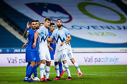 Jaka Bijol of Slovenia with Miha Mevlja of Slovenia during football match between National Teams of Slovenia and Greece in UEFA Nations League 2020, on September 3, 2020 in SRC Stozice, Ljubljana, Slovenia. Photo by Grega Valancic / Sportida