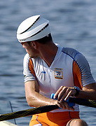 20040814 Olympic Games Athens Greece [Rowing]<br /> Photo  Peter Spurrier <br /> NED M1X Dirk Lippets wearing a wind resistant hat.<br /> <br /> email;  images@intersport-images.com<br /> Tel +44 7973 819 551<br /> <br /> <br /> <br />  *** Local Caption *** ©Peter Spurrier Intersport Images.<br /> email images@intersport-images.com<br /> Tel +44 7973 819 551[Mandatory Credit Peter Spurrier/ Intersport Images]