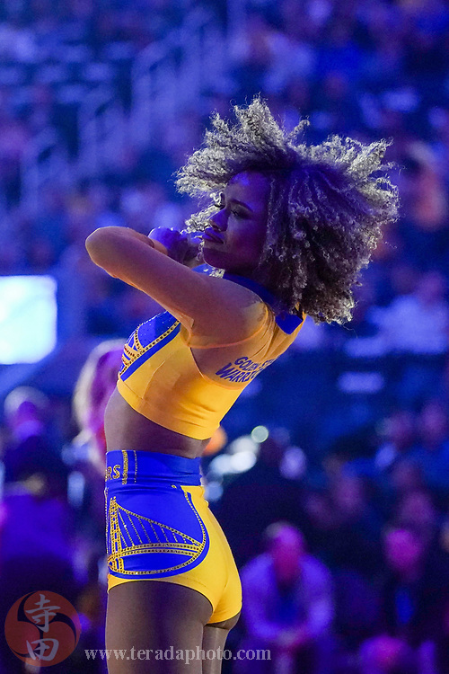February 27, 2020; San Francisco, California, USA; Golden State Warriors Dance Team dancer RJ during the first quarter against the Los Angeles Lakers at Chase Center.