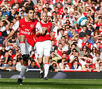 Photo: Steve Bond.<br />Arsenal v Derby County. The FA Barclays Premiership. 22/09/2007. Cesc Fabrigas delicately chips the ball forward