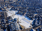 Nederland, Noord-Holland, Amsterdam, 13-02-2021; Museumplein onder de sneeuw en in de winter. <br /> Museumplein under the snow and in winter.<br /> luchtfoto (toeslag op standaard tarieven);<br /> aerial photo (additional fee required)<br /> copyright © 2021 foto/photo Siebe Swart