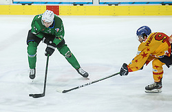 Cimzar Tadej of HK SZ Olimpija vs Mantenuto Daniel of Asiago during first leg Ice Hockey game between HK SZ Olimpija Ljubljana and Asiago Hockey in Final of Alps Hockey League 2020/21, on April 20, 2021 in Hala Tivoli, Ljubljana, Slovenia. Photo by Vid Ponikvar / Sportida