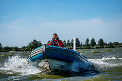Press boat in action by the Open Dutch Sailing Championships on September 18, 2020 in Medemblik, Netherlands