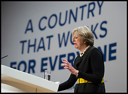 October 2, 2016 - Birmingham, West Midlands, United Kingdom - Image ©Licensed to i-Images Picture Agency. 02/10/2016. London, United Kingdom. ..Conservative Party Conference Day 1. ..The Prime Minister, Theresa May, speaks at The ICC in Birmingham on the first day of the Conservative Party Conference...Picture by Ben Stevens / i-Images (Credit Image: © Ben Stevens/i-Images via ZUMA Wire)
