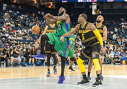 July 6, 2018 - Oakland, CA, U.S. - OAKLAND, CA - JULY 06: Stephen Jackson (5) co-captain of the Killer 3s strips the ball from Reggie Evans (30) co-captain of 3 Headed Monsters during game 4 in week three of the BIG3 3-on-3 basketball league on Friday, July 6, 2018 at the Oracle Arena in Oakland, CA  (Photo by Douglas Stringer/Icon Sportswire) (Credit Image: © Douglas Stringer/Icon SMI via ZUMA Press)